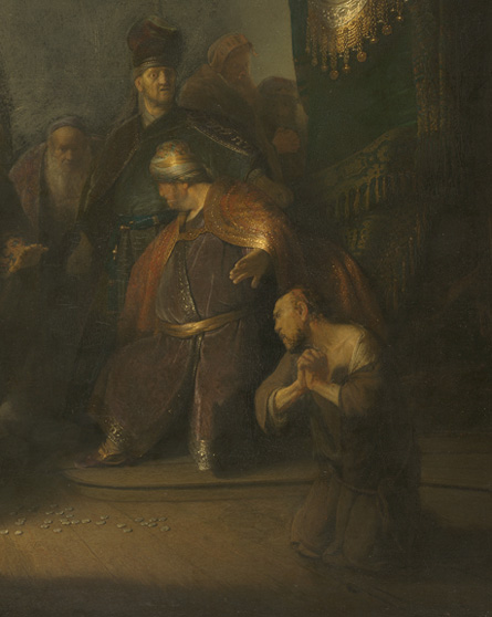 Rembrandt Harmenszoon van Rijn, Judas returning the thirty silver pieces, 1629, oil on oak panel, Private Collection (cropped and color corrected to front cover of Rembrandt's First Masterpiece publication)