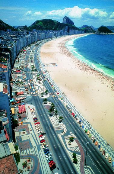Avenida Atlântica, Copacabana, Rio de Janeiro, pavement designed by Roberto Burle Marx, 1970