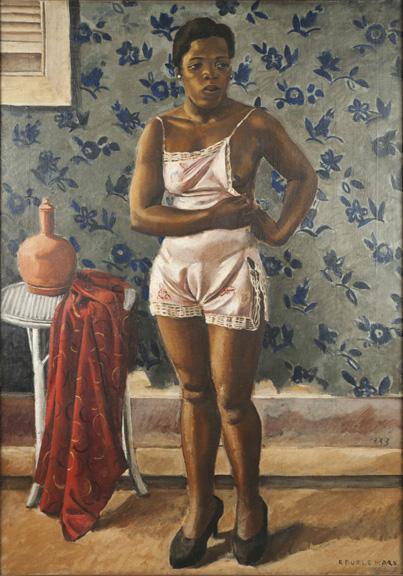 Roberto Burle Marx, Woman in a Pink Slip, 1933, oil on canvas, 39 ¾ x 28 in. (101 x 71.1 cm). Sítio Roberto Burle Marx, Rio de Janeiro.