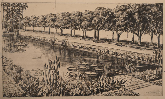Roberto Burle Marx, Garden of Casa Forte (City Hall), Recife, 1935, ink and pencil on paper, 19 x 28 ¾ in. (48.3 x 73 cm). Sítio Roberto Burle Marx, Rio de Janeiro.