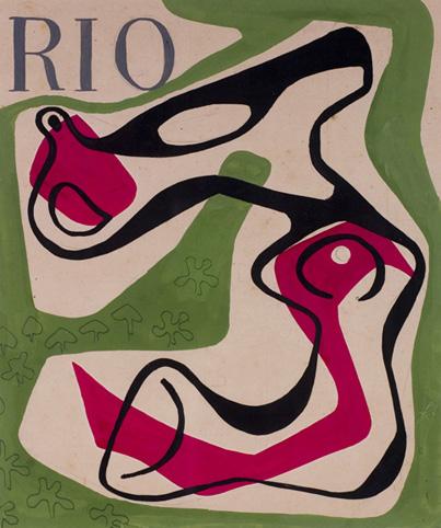 Roberto Burle Marx, cover design for the magazine Rio, 1953, gouache on paper, 13 x 10 ? in. (33 x 28 cm). Sítio Roberto Burle Marx, Rio de Janeiro
