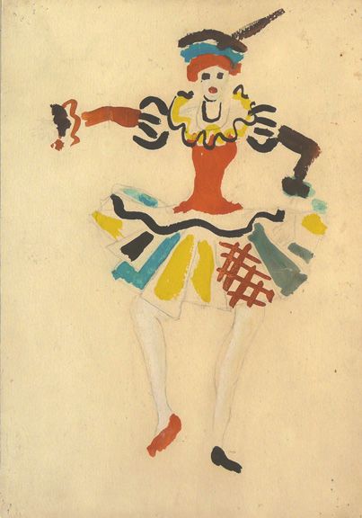 Roberto Burle Marx (Brazilian, 1909–1994), costume design for Igor Stravinsky's ballet Petrushka: Ballerina, 1954, gouache on paper, 13 ? × 9 ? in. (33.9 × 23.8 cm). Private collection, Rio de Janeiro