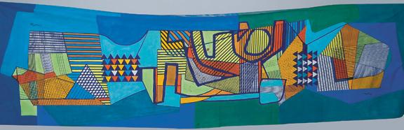 Roberto Burle Marx (Brazilian, 1909–1994), hand-painted tablecloth, 1989, 63 x 217 ½ in. (160 x 552 cm). Sítio Roberto Burle Marx, Rio de Janeiro.