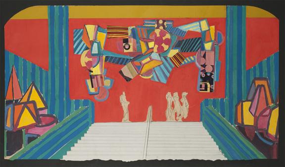 Roberto Burle Marx (Brazilian, 1909–1994), Carnival study, Theatro Municipal do Rio de Janeiro, c. 1960s. Graphite, gouache, and collage on paper. Sítio Roberto Burle Marx, Rio de Janeiro.