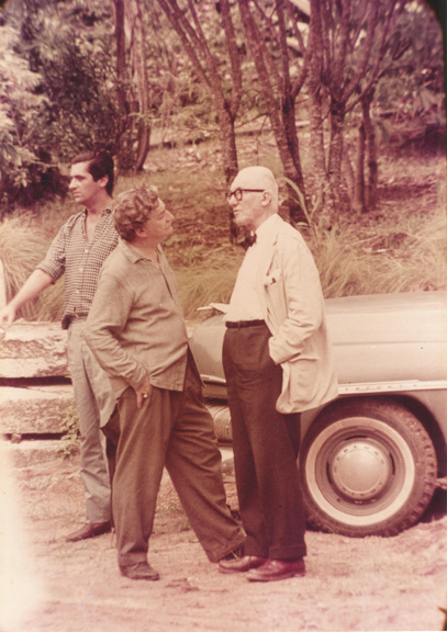Roberto Burle Marx with Le Corbusier during a luncheon in the architect's honor at the home of Burle Marx, 1962.