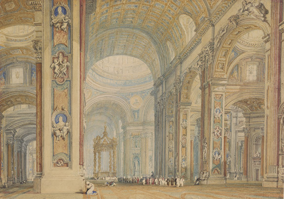 Turner, J. M. W. (Joseph Mallord William), 1775-1851, Interior of St. Peter's Basilica, Rome [drawing]. 19th century, Thaw Collection (EVT 181)