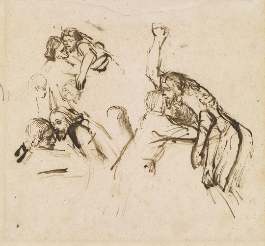 Rembrandt van Rijn, Three Studies for a Descent from the Cross, EVT 148