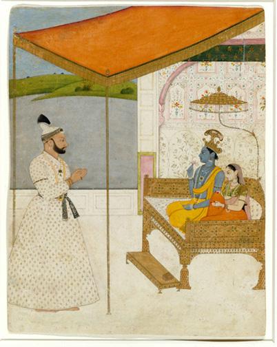 2. Raja Balwant Singh Revering Krishna and Radha