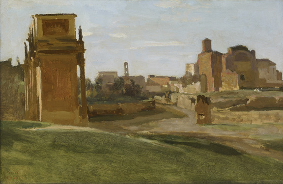 Jean-Baptiste-Camille Corot (1796 - 1875) The Arch of Constantine and the Forum, Rome, 1843 oil on paper mounted on canvas 10 5/8 in. x 16 1/2 in. (26.99 cm x 41.91 cm) Gift of Mr. and Mrs. Eugene Victor Thaw, 1994. Accession number: 1994.1.175