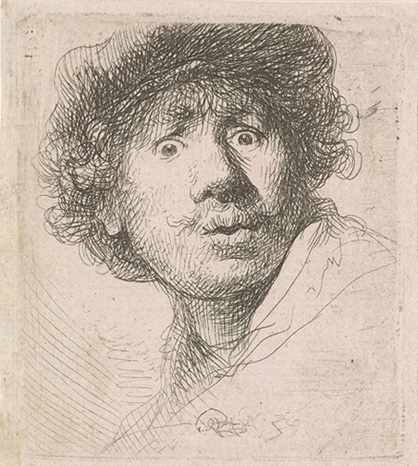 Rembrandt van Rijn, Self Portrait in a Cap, Open-Mouthed, RvR 442