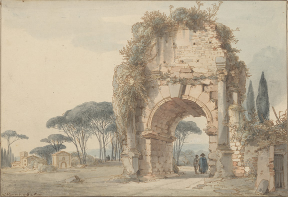 Cassas, Louis François, 1756-1827, Landscape with Ruined Arch [drawing]. 1778, III, 112b