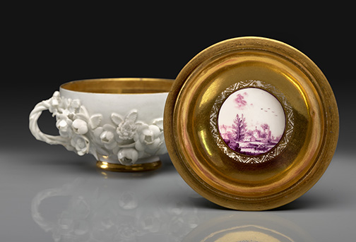 Small Two-Handled Bowl with Cover Meissen porcelain, 1735 or 1738 Modeled by Johann Joachim Kändler and/or Johann Friedrich Eberlin H: 3 ¾ in. Private Collection