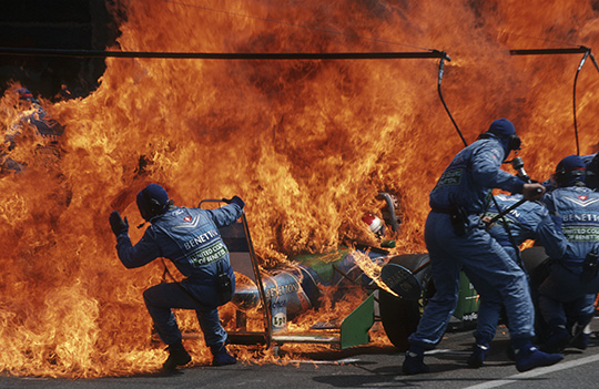 Arthur Thill (Luxembourgish, born 1950). Narrow Escape ñ Fire Incident in Hockenheim, German F1 Grand Prix, July 31, 1994, printed 2016. Inkjet print, 7 1/2 x 11 1/2 in. (19.1 x 29.2cm). Courtesy of the artist/ATP Photo Agency