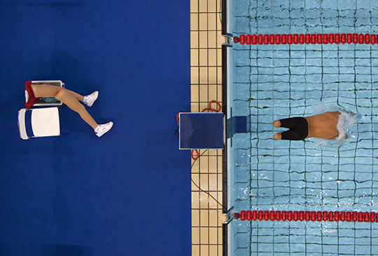 Bob Martin (British, born 1959). Avi Torres of Spain sets off at the start of the 200m freestyle heats, Paralympic Games, Athens, September 1, 2004, printed 2016. Inkjet print, 14 x 9½ in. (35.6 x 24.1 cm). Courtesy of Bob Martin/Sports Illustrated