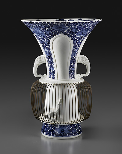 "One of a pair of ""birdcage"" vases Meissen porcelain, after 1730 H: 20 ¼ inches Private Collection"