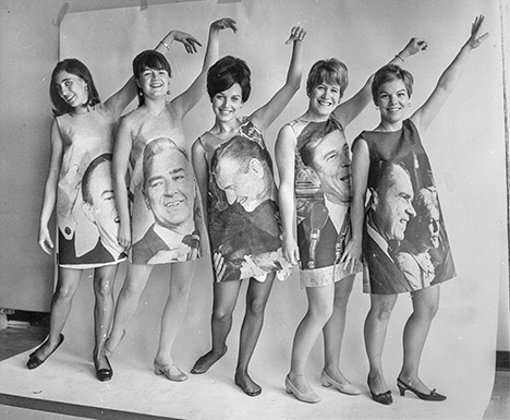 5 GIRLS POSE IN DRESSES WITH PHOTOS OF PRES. CANDIDATES. L-R., HUMPHREY MCCARTHY, ROCKEFELLER, REAGAN & NIXON George Moore Collection