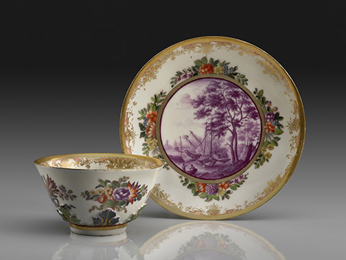 Saucer Meissen porcelain, ca. 1720 Decorated outside the factory, ca. 1745 D: 5 1/8 inches Private Collection