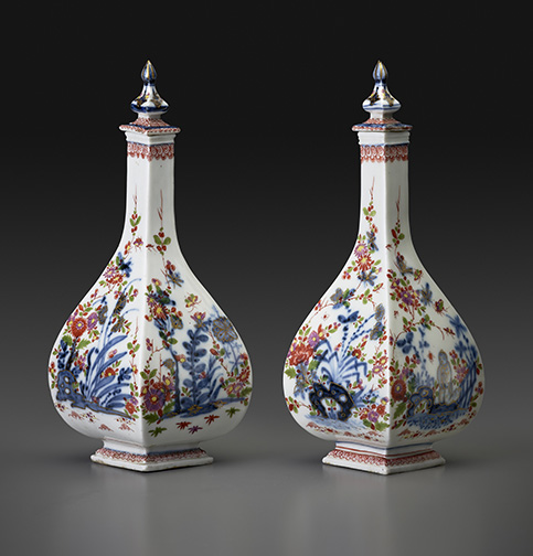 Pair of Four-Sided Bottles with Stoppers Meissen porcelain, ca.1724 H: 9 inches each Private Collection