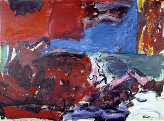 "Grace Hartigan, New York Rhapsody, 1960. Oil on canvas, 67 3/4 x 91 5/16."" Mildred Lane Kemper Art Museum, Washington University in St. Louis. University purchase, Bixby Fund, 1960."