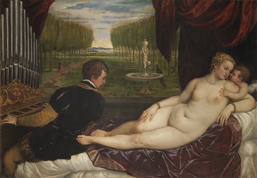 Titian%2c-Venus-with-an-Organist-and-Cupid-Online