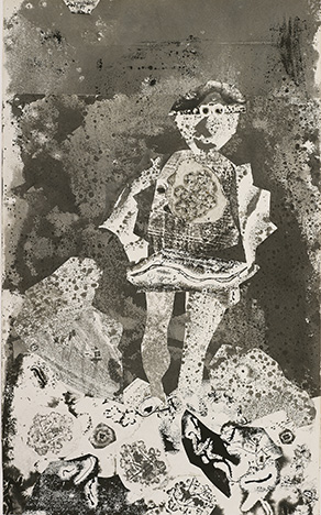 Jean DubuffetFrench, 1901-1985The Bread Carrier, 1955Collage composed of cut, pasted and pieced ivory wove papers, prepared with black ink and gray wash with monoprinting and stenciling on paper775 x 470 mmGift of Mr. and Mrs. Joseph R. Shapiro1996.625The Art Institute of Chicago