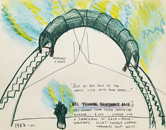 Mierle Laderman Ukeles NYC Triumphal Maintenance Arch, 1983 Ink and pastel on paper Photo: Casey Dorobek Courtesy of Ronald Feldman Fine Arts, New York