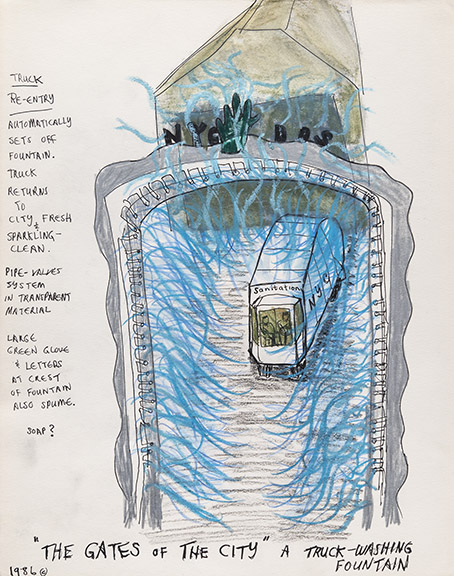 Mierle Laderman Ukeles The Gates of the City: Truck Washing Fountain, 1986 Ink and craypas on paper 14 x 11 inches Photo: Casey Dorobek Courtesy of Ronald Feldman Fine Arts, New York