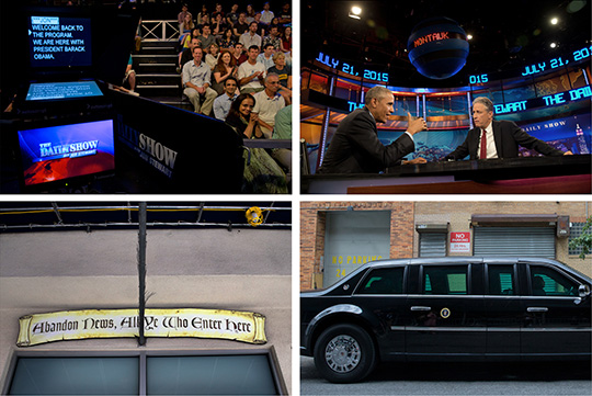 NYT/WAS 30140828A-072115sdc-NEW YORK CITY-JULY 21, 2015-PREXY/DAILY SHOW- President Barack Obama taping a segment on The Daily Show television program, hosted by comedian Jon Stewart. photo by STEPHEN CROWLEY/THE NEW YORK TIMES NYTCREDIT: Stephen Crowley/The New York Times