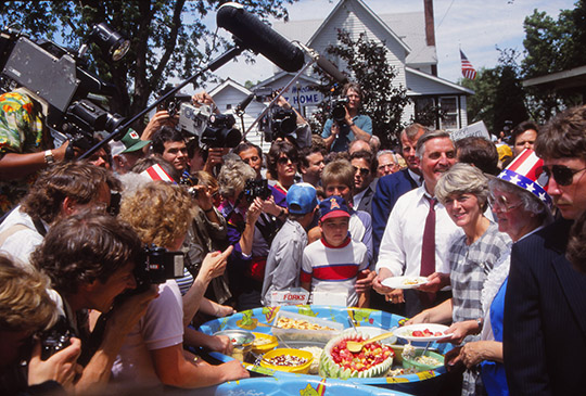 Walter Mondale campaigning in 1984 for President