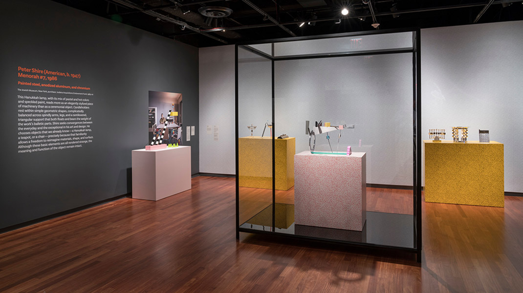 Exhibition view of Masterpieces & Curiosities: Memphis Does Hannukah at The Jewish Museum, NY