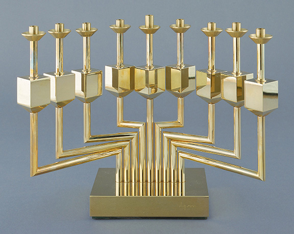 Yaacov Agam, CandelabrAgam, c. 1980, copper alloy: cast; ball bearings; 9º x 13æ x 3? in. (23.5 x 34.9 x 9.9 cm). The Jewish Museum, New York Gift of the Noon Foundation, Cecilia and Samuel Neaman, 1981-307a-j