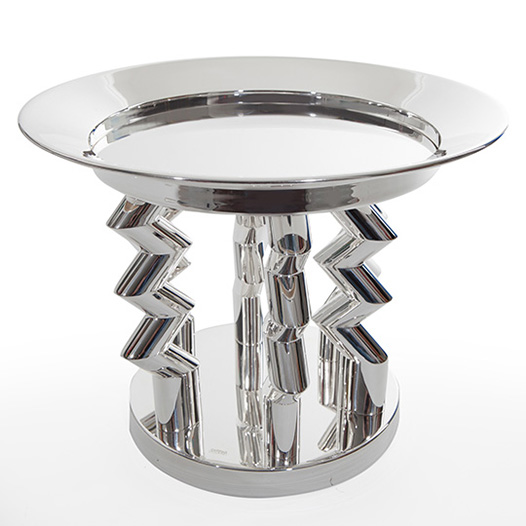 Ettore Sottsass, Murmansk fruit dish, 1982, silver, 13æ in. diameter x 11æ in. (35 cm diameter x 30 cm).   Private Collection, New York