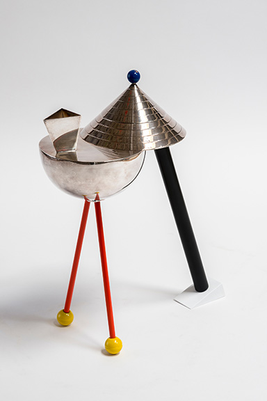 Peter Shire, Anchorage, 1983, silver, wood, enamel, 15 x 12æ x 5æ in. Collection of Ava Riko Shire