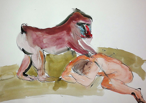 10_mandrill_and_man_india-inkwatercolour_on_paper_60by42-cm_2012