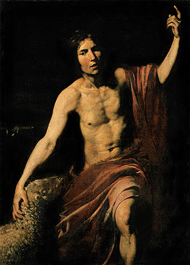 ELC859838 St John the Baptist, 1628 - 1630 by Valentin de Boulogne, (1594-1632); (add.info.: All. Man St John the Baptist raised hand drape dress drapery lamb semi-darkness; faint light black red Creator: Valentin Jean Velentin de Boulogne Location: Santa Maria in Via Church, Macerata, Camerino, Marche, Italy); Mondadori Portfolio/Electa/Sergio Anelli; ITALIAN RIGHTS NOT AVAILABLE; French, out of copyright