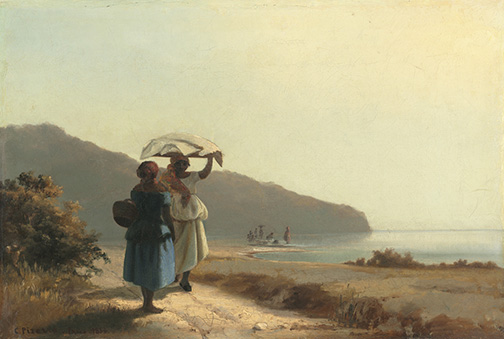 Camille Pissarro (French, 1830 - 1903 ), Two Women Chatting by the Sea, St. Thomas, 1856, oil on canvas, Collection of Mr. and Mrs. Paul Mellon