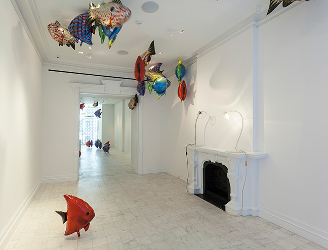 Philippe Parreno (French, born Algeria 1964). My Room Is Another Fish Bowl, 2016. Mylar and helium, overall dimensions vary. Installation view of IF THIS THEN ELSE at Gladstone Gallery, New York, March 5ñApril 16, 2016. © Philippe Parreno. Courtesy of the artist and Gladstone Gallery, New York and Brussels. (Photo: David Regen)