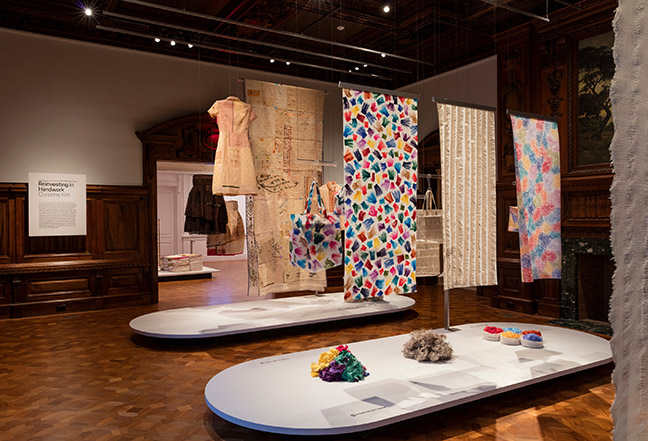 "Installation view of ""Scraps: Fashion, Textiles, and Creative Reuse."" Photo by Matt Flynn © 2016 Cooper Hewitt, Smithsonian Design Museum"