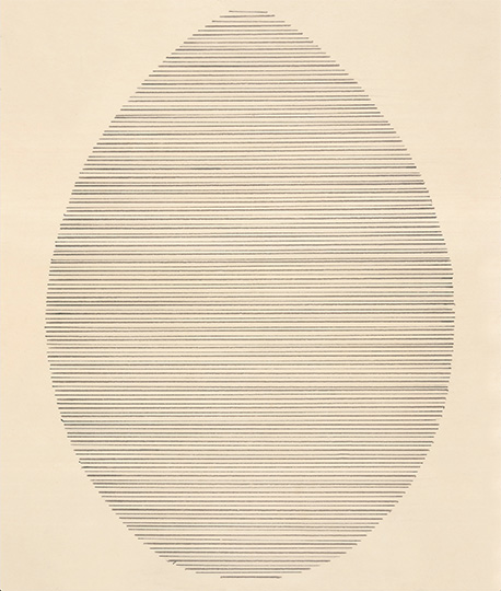 Agnes Martin The Egg, 1963 Ink on paper, 21.6 x 15.2 cm Courtesy The Elkon Gallery, New York
