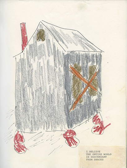 Beverly Buchanan (American, 1940–2015) with poet Alice Lovelace (American, born 1948). Shack Stories (Part I), 1990. Unpublished handmade book of ink and crayon drawings with watercolor and collaged typewritten text, 11 x 8 ½ in. (27.9 x 21.6 cm). Private collection. © Estate of Beverly Buchanan
