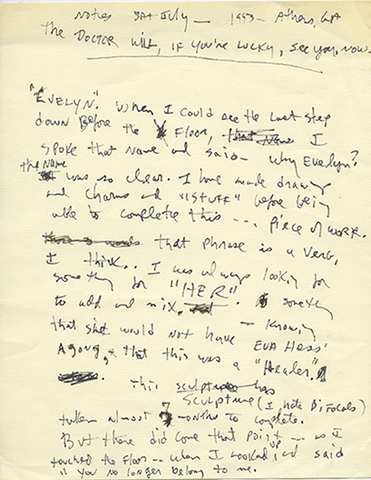 "Beverly Buchanan (American, 1940–2015). Untitled (""The doctor will, if you're lucky, see you, now.""), July 1993. Unpublished writing in notebook. Private collection. © Estate of Beverly Buchanan"