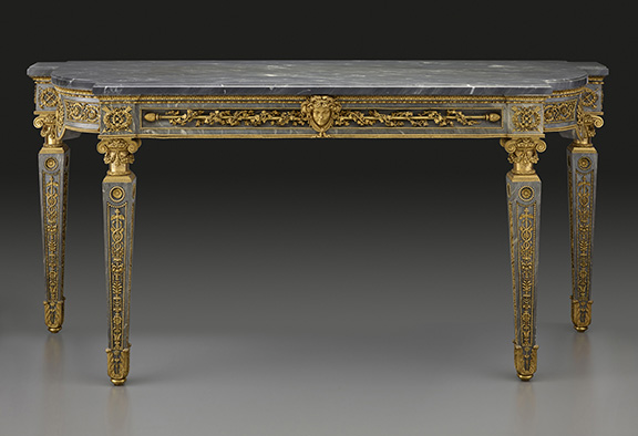 Jean-François-Thérèse Chalgrin (1739 - 1811) Designs François-Joseph Belanger (1744 - 1818) Designs Pierre Gouthière (1732 - 1813) Bronzes Blue Marble Side Table with Neoclassical Mounts, 1781 bleu turquin marble and gilt bronze 37 1/2 in. x 81 1/8 in. (95.25 cm x 206.06 cm) Henry Clay Frick Bequest. Accession number: 1915.5.59