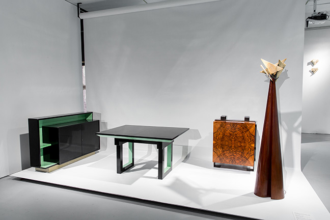 Left to right: Pierre Chareau, bicolor credenza designed for Julia Ullmann, c. 1928, lacquered wood. Miguel Saco; Pierre Chareau, Bicolor table designed for Julia Ullmann, c. 1929, knotty walnut and lacquer. Paolo and Maddalena Kind, London; Pierre Chareau, wall cabinet, c. 1928, walnut and black patinated iron, with interior in sycamore. Vallois America, New York; La Religieuse (the nun) floor lamp, c. 1923, mahogany and alabaster, with metalwork by Louis Dalbet. Robert and Cheska Vallois, Paris. From the exhibition Pierre Chareau: Modern Architecture and Design, November 4, 2016 ñ March 26, 2017, at The Jewish Museum, NY. Photo: Will Ragozzino/SocialShutterbug.com. Exhibition design by Diller Scofidio + Renfro.