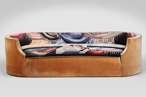 Corbeille sofa (MP169), 1923, designed by Pierre Chareau, with upholstery by Jean LurÁat, velours and tapestry, 23Ω x 77º x 17º in. Collection of Audrey Friedman and Haim Manishevitz