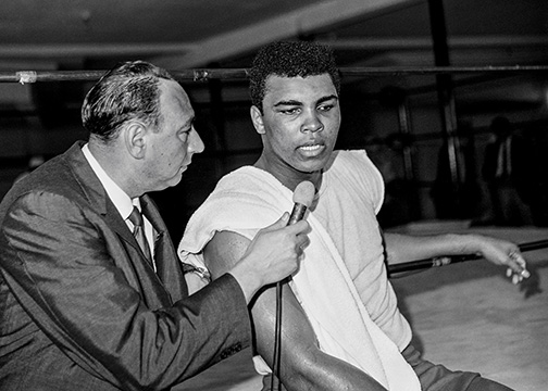 January 1966: Howard Cosell and Muhammad Ali at 5th Street Gym in Miami, Florida. Image from the first rolls of film of photographer George Kalinsky's career.