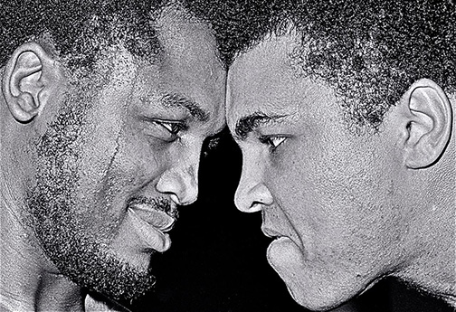 February 1971: Joe Frazier and Muhammad Ali spar in Joe's Philadelphia gym.