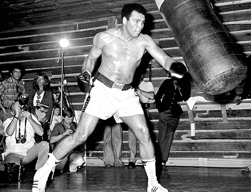 circa 1972: Muhammad Ali at his training camp in Deer Lake, Pennsylvania.