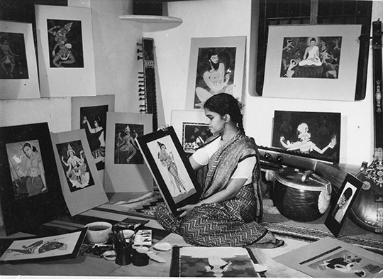 y-g-srimati-in-her-studio-sait-colony-egmore