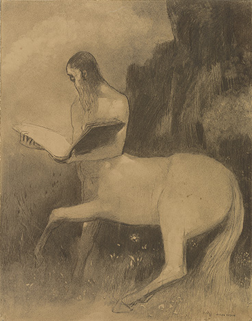 Redon, Odilon, 1840-1916, Centaure lisant [drawing], 19th century, recto, Thaw Collection (EVT 243)
