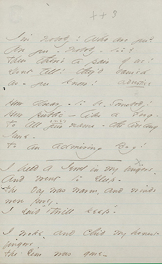 Emily Dickinson, I'm nobody! Who are you?, Houghton Library, Harvard University, MS Am. 1118.3